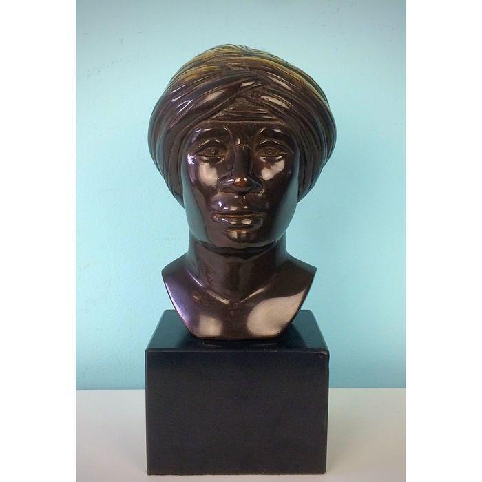 Online veilinghuis Catawiki: Blackamoor: Bronzen hoofd van een moor met vergulde tulband