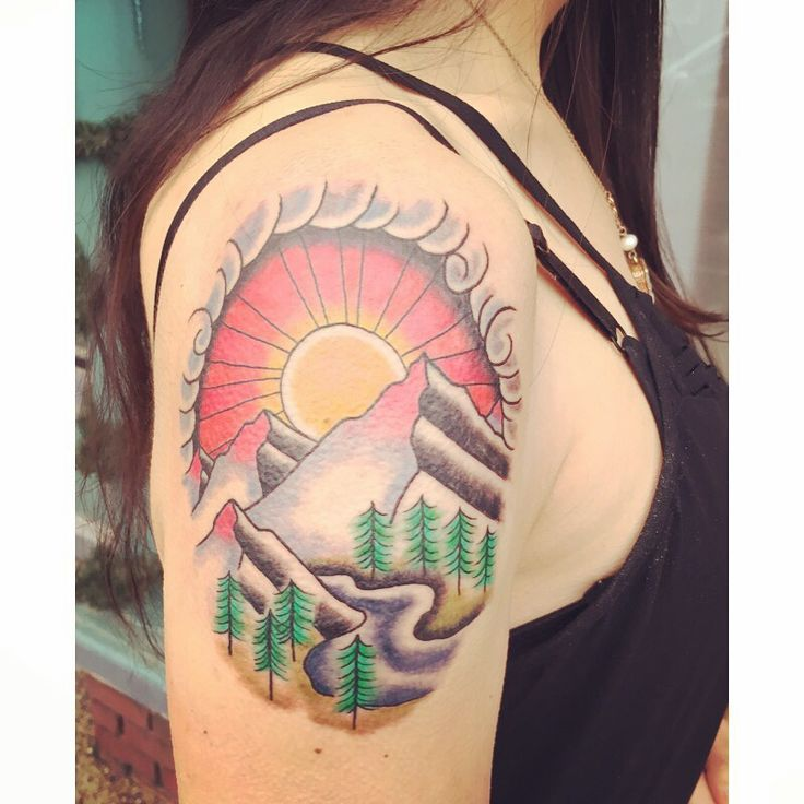 My new tattoo! From Godspeed Tattoos in Breckenridge, CO... Ink, tattoos, mountain tattoo, landscape tattoo, sunset tattoo, arm tattoo, shoulder tattoo, girls with tattoos, girls with ink