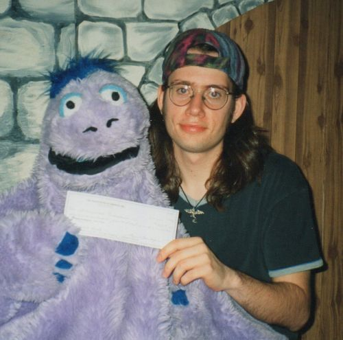 Gordon the Sea Monster and I in 1997 with the grant award from the Puppeteers of America Endowment Fund.