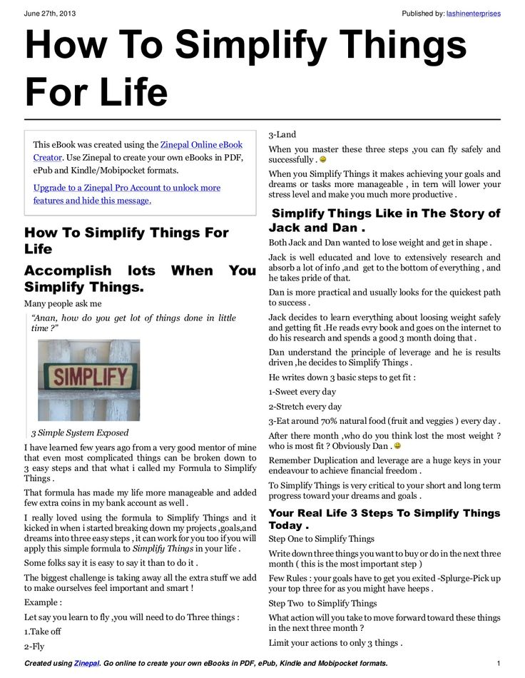 How to simplify things for life