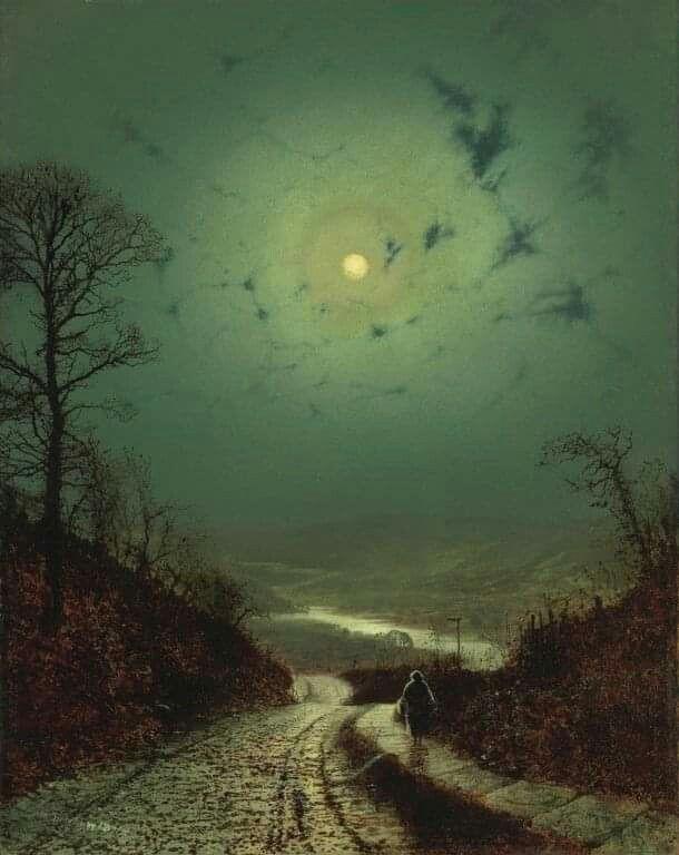 """""""Moonlight"""" 1871 von John Atkinson Grinshaw (englisch 1836-1893)"""
