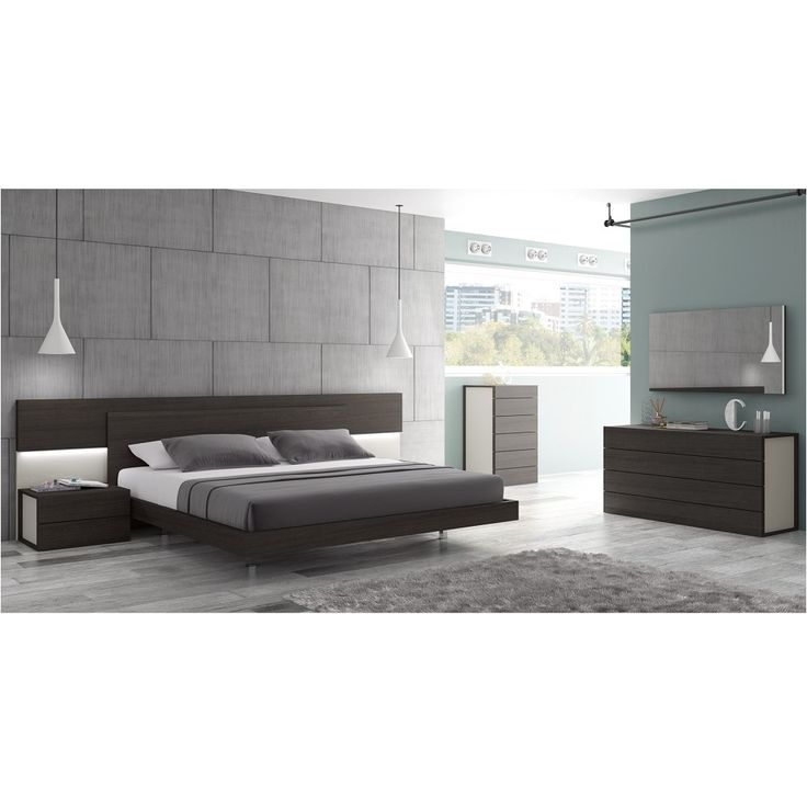Maia Modern 5 PC Bedroom Set In Wenge And Light Grey By Ju0026M