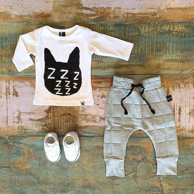 • Minti ZZZ Cat tee, Huxbaby quilted drop crotch pants & Converse baby Chucks, all available in store & online •  www.tinystyle.com.au   #baby #fashion #unisex #tinystyle