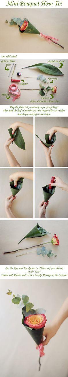 Pensando en detalles para bodas y otros eventos. Paso a paso para poder hacerlo..con la flor de Sia puedes tener modelos preparados para ofertar...cualquier hoja grande nos puede servir de cucurucho..rosas, phalaenopsis, tulipanes etc como flor.