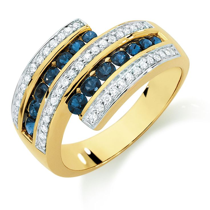 Ring with Sapphire & 1/4 Carat TW of Diamonds in 10ct Yellow & White Gold