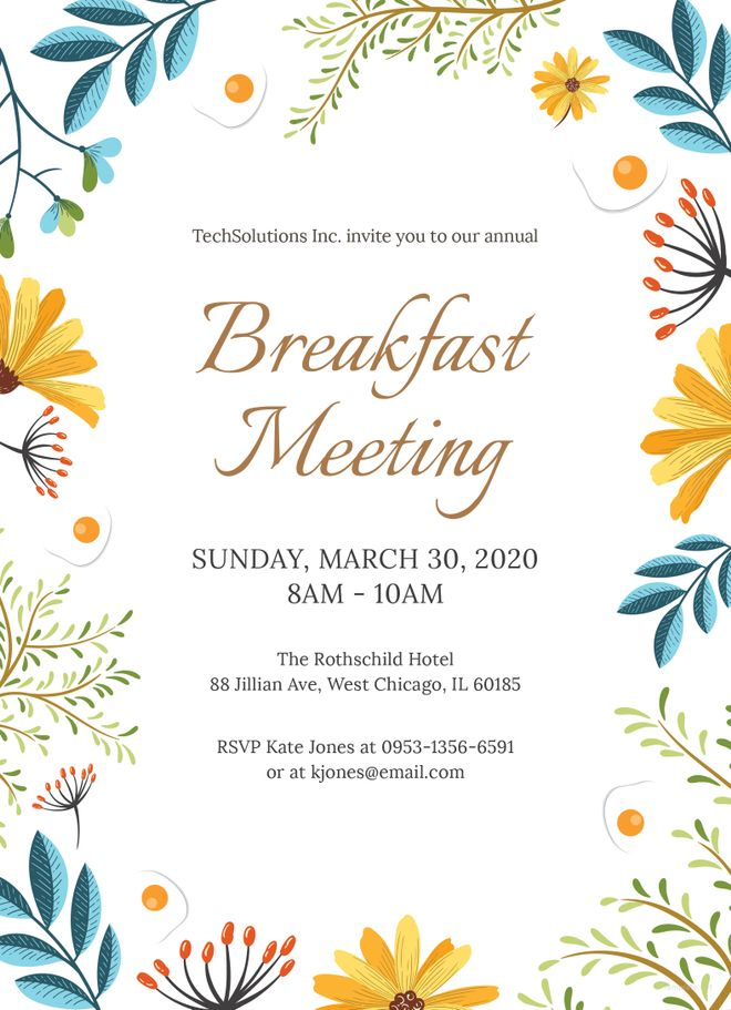 Free Corporate Breakfast Invitation Invitations Templates