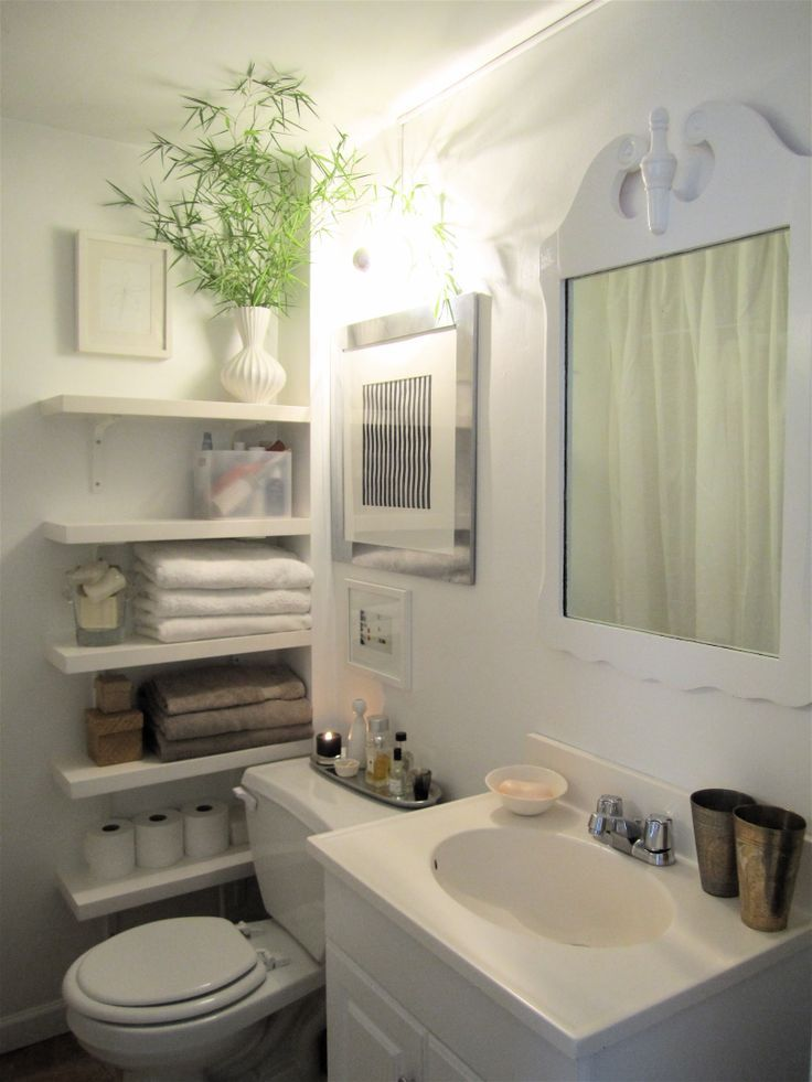 Store larger items, such as mouthwash and hair dryers in the cupboard below the sink, as well as extra toilet paper rolls and backup bottles of your favorite moisturizers and cleansers. If possible, don't waste room here with tons of cleaning products.                       - ELLE.com