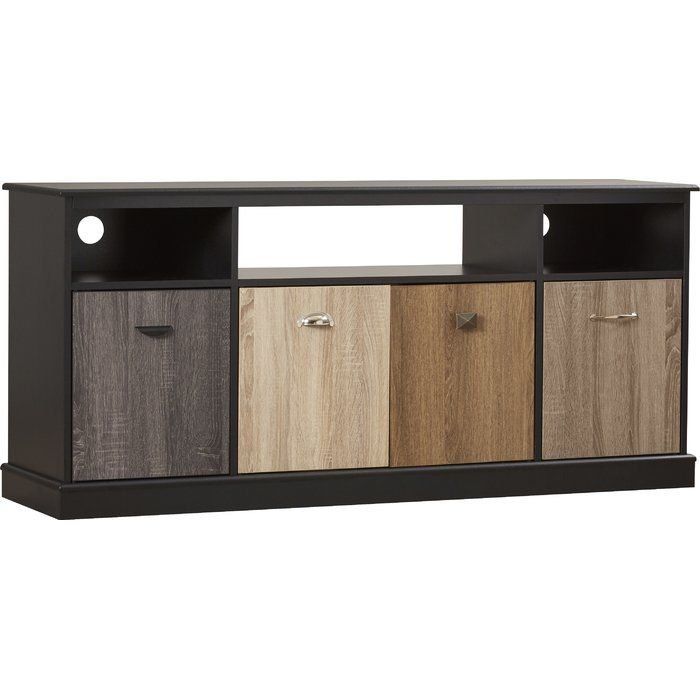 Defined by lovely wood panels and a warm finish, this stylish TV stand is a versatile piece for any space. Craft a chic entryway vignette by anchoring it below a gleaming sunburst mirror or display an array of liquors, barware, and wines in the dining room for an eye-catching home bar.
