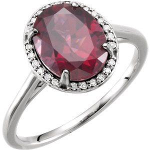 14kt White Rhodolite Garnet and Diamond Ring. Find it at a jeweler near you: www.stuller.com/locateajeweler #ColoroftheYear #marsala #pantone