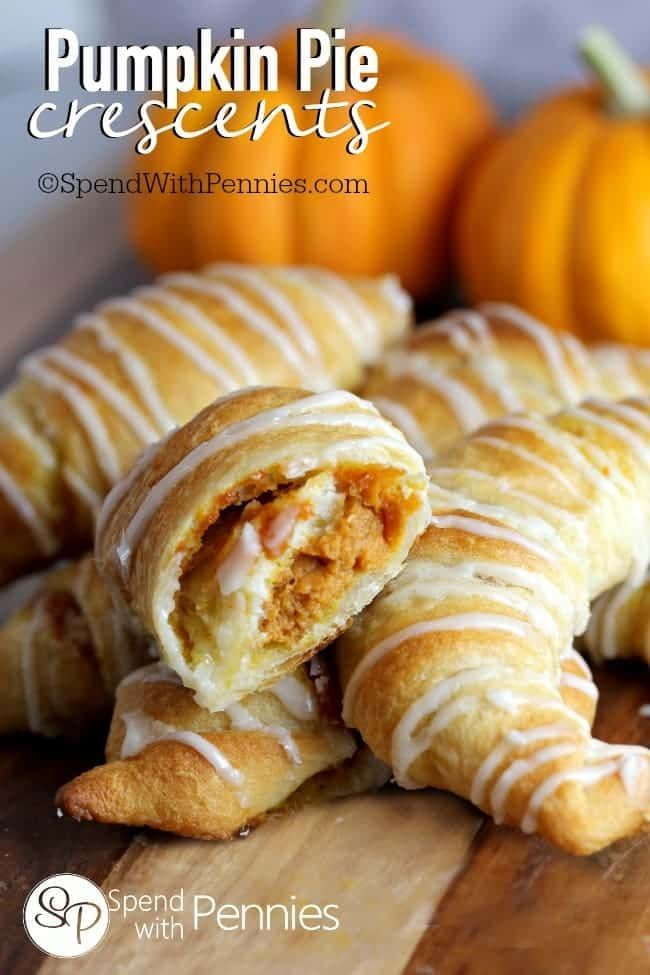 Crescent Pumpkin Pie recipe. These are super easy to make and are a perfect Thanksgiving dessert for the kids! They're so easy that even kids can make them!
