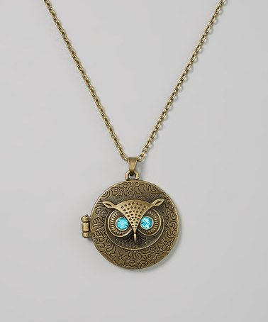 Look what I found on #zulily! Gold & Blue Owl Locket Necklace by Owl Bee Mod #zulilyfinds