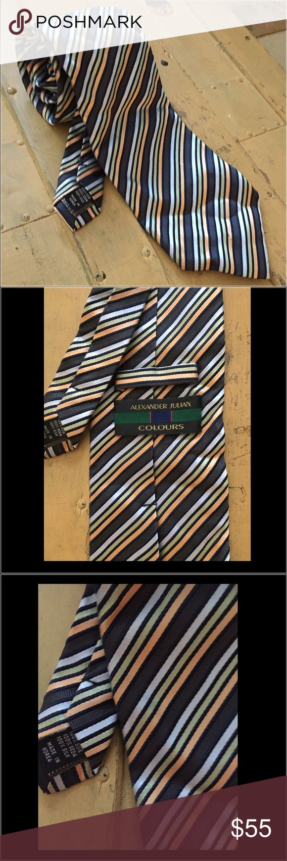 NWOT ALEXANDER JULIAN 100% SILK NECK TIE STRIPE NWOT ALEXANDER JULIAN BRAND 100% SILK NECK TIE STRIPE MENS OS $98 100% Authentic ALEXANDER JULIAN COLOURS BRAND  Size: MENS OS (REG) Color: multi, stripe Condition:  New without tags, store display; *see photos for specific detail Material:  100% SILK Made in Korea Combined shipping discount with purchase of additional items. All items come from a CLEAN, SMOKE-FREE home Brooks Brothers Accessories Ties