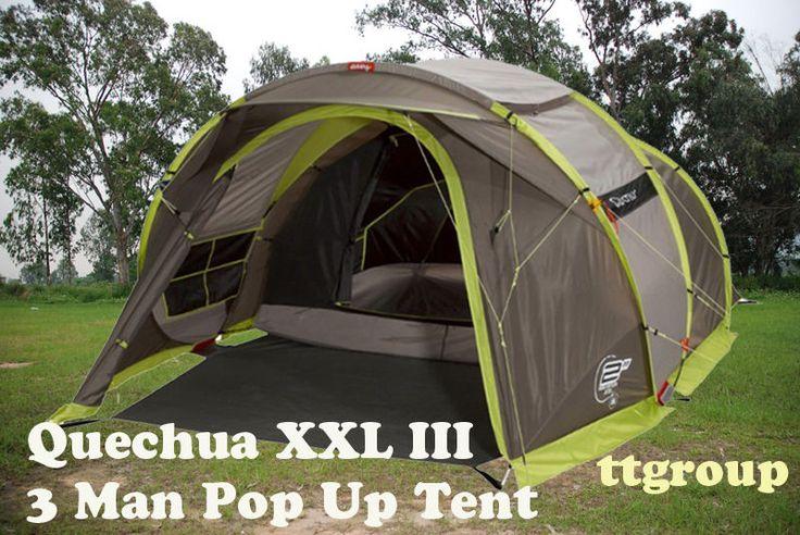 Quechua Waterproof Pop Up Camping Tent 2 Seconds XXL III, 3-4 Man Double Lining #Quechua