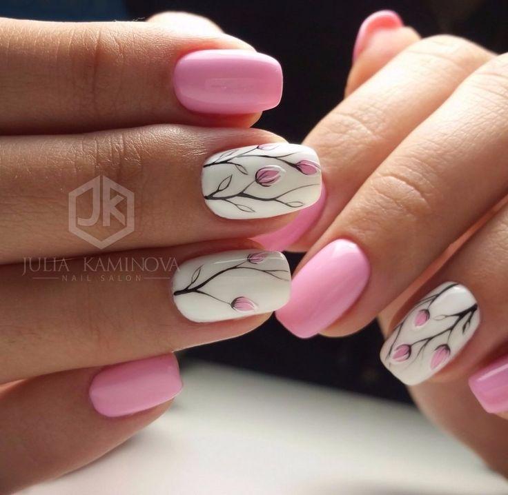 Pink tulip nail art