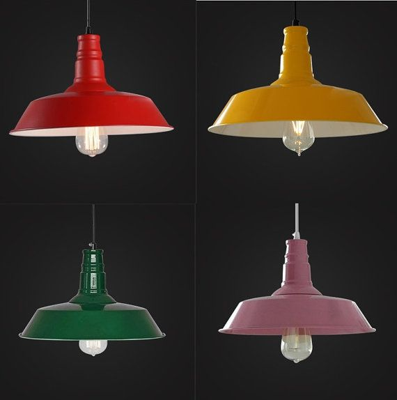 Colorful Factory Pendant   industrial lighting   vintage hanging lamps   ceiling lamps   edison bulb   warehouse light   E27   steel lamp