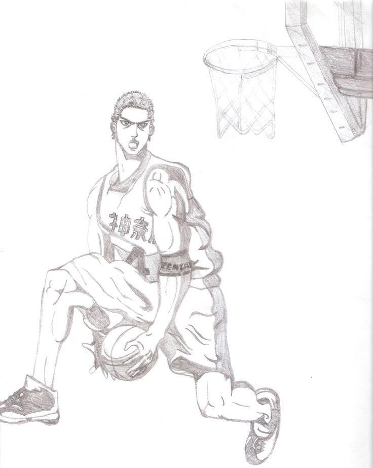 Dibujo original de Hanamichi Sakuragi en 3 año, convertido en el jugador número 1 de Japón, haciendo una clavada o Slam Dunk en el partido de estrellas de Kanagawa.  #Hanamichi_Sakuragi; #SlamDunk Artista: 14'onfire!