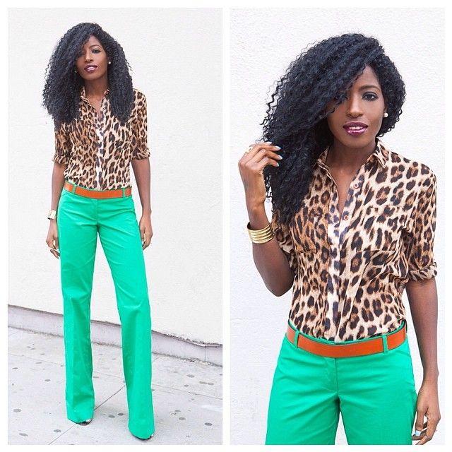 Leopard Print Shirt + Green Wide Leg Trousers