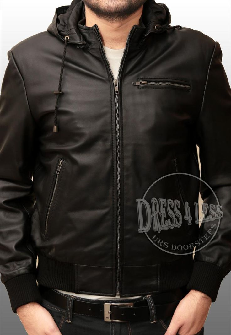 Bomber Hoody Leather Jacket ALL SIZE AVAILABLE