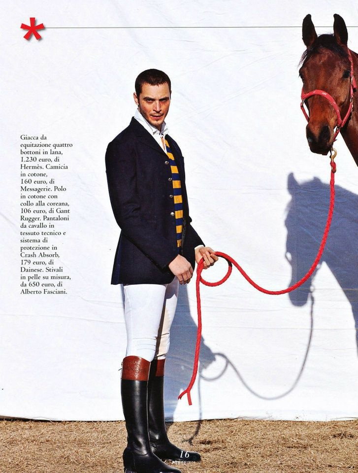 Giacca da equitazione Hermes, camicia Messagerie, Pantaloni Dainese, Stivali tecnici da equitazione in pelle su misura Alberto Fasciani