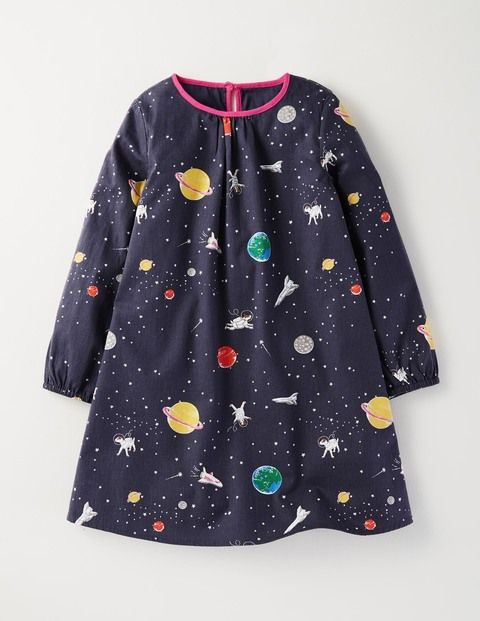 Fun Printed Dress in Soot Space | Mini Boden