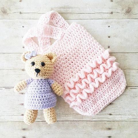 Crochet Baby Ruffled Romper Ballerina Onesie Stuffed Animal Teddy Bear Dress Toy Set Handmade Infant Newborn Photography Photo Prop Baby Shower Gift - Red Lollipop Boutique