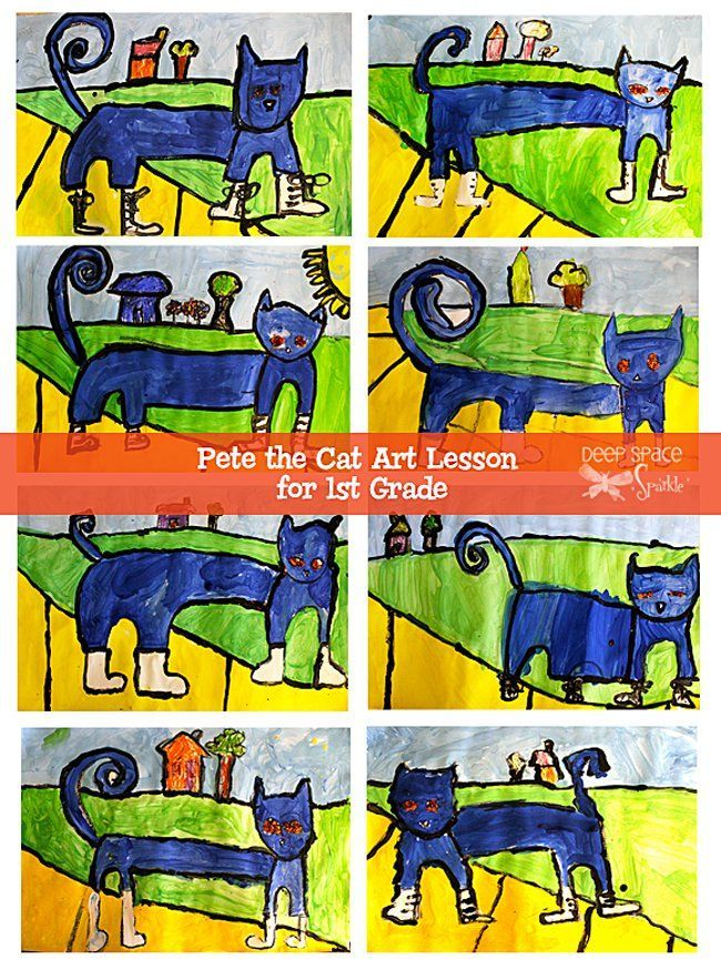 Pete-the-Cat guided art lesson for first graders...Lori/Kelli More
