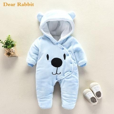9d6660415b80 2018 Cute Cartoon Bear Flannel new born Baby clothes Romper Novelty ...