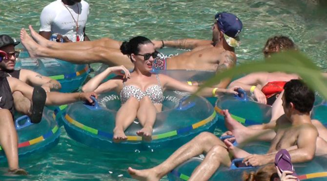 Celebs Hit The Beach Katy Perry and friends enjoy a lazy river in the Caribbean sunshine. Photo: Splash News
