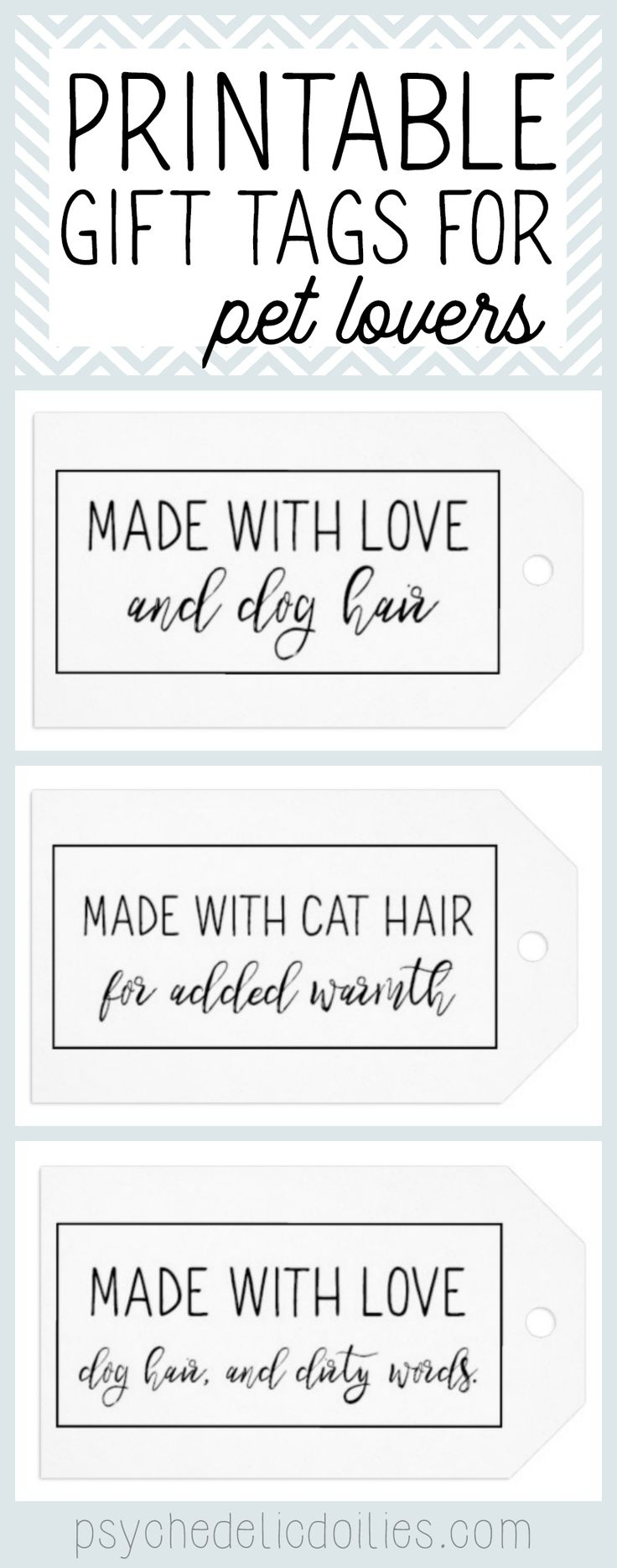 """These printable gift tags are for creative pet owners whose fur babies """"help"""" wi… – Psychedelic Doilies Blog"""
