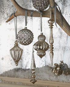 Mercury glass vintage style ornaments---use Krylon mirror glass spray on old/cheap ornaments***