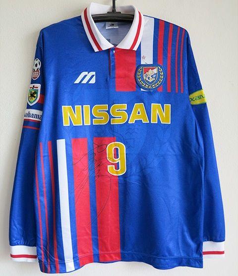 横浜マリノス 選手実使用 1996HOME 長袖ユニフォーム#9_画像1