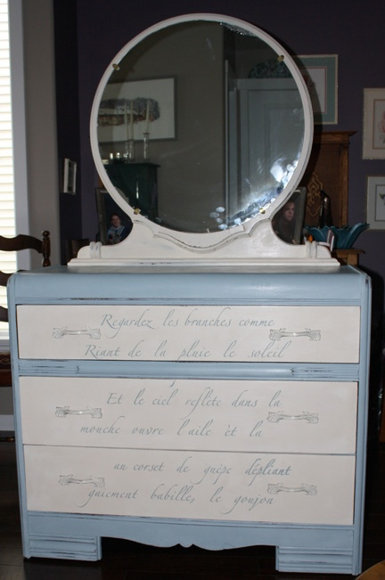 Here's another piece (#CottagePaint: Waterdrop and Antique White) where we used that wonderful French stencil from Royal designs: http://www.royaldesignstudio.com/products/springtime-in-paris-stencil-set