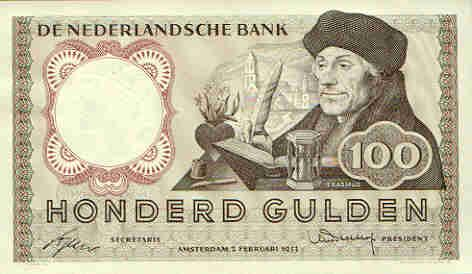100 gulden...100 hundred guilders...before the Euro.  I miss the art work that these money notes had on them.