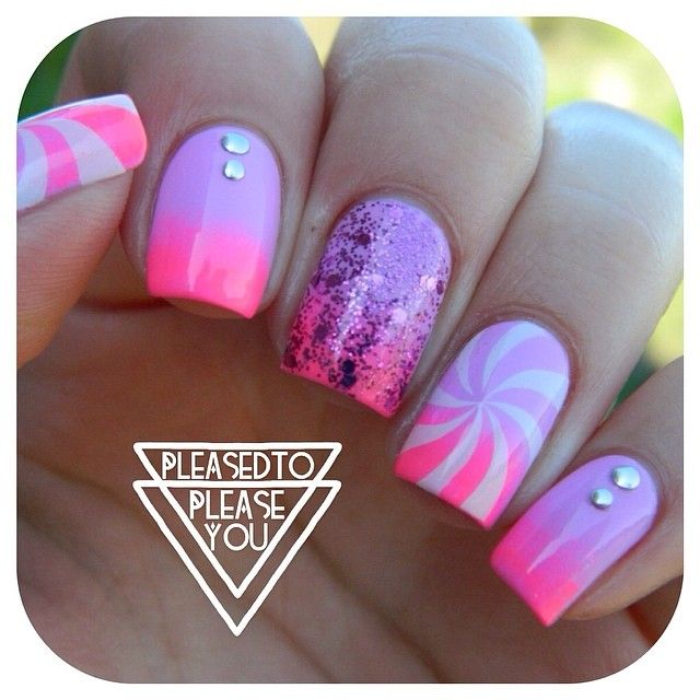 neon ombre nail art
