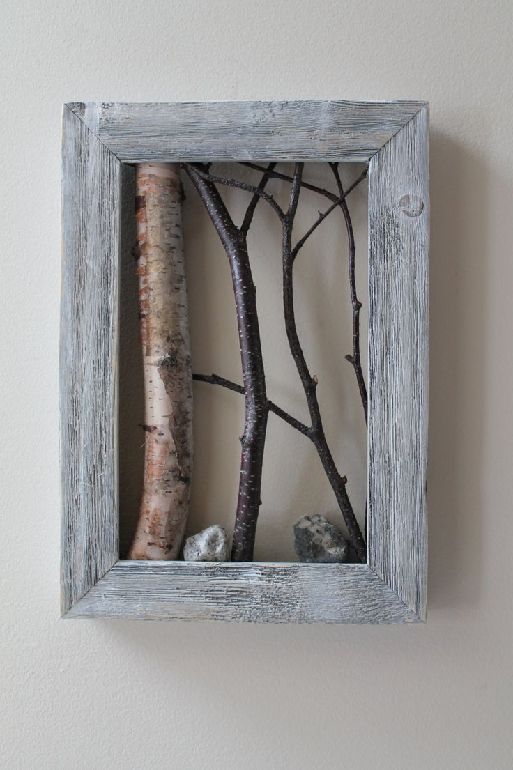 white birch bark wall hanging framed tree branch cottage