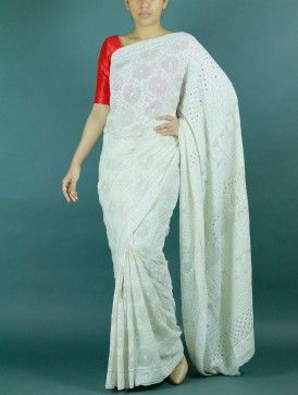 White Chikankari Saree