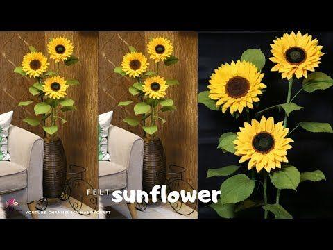 Diy Bunga Matahari Flanel How To Make Felt Sunflower I Diy Bunga Sudut Ruangan Youtube Felt Flowers Diy Felt Flowers Felt Sunflower