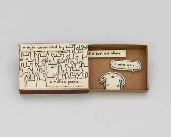 Cute I miss you Card Matchbox/ Gift box / Message box por shop3xu