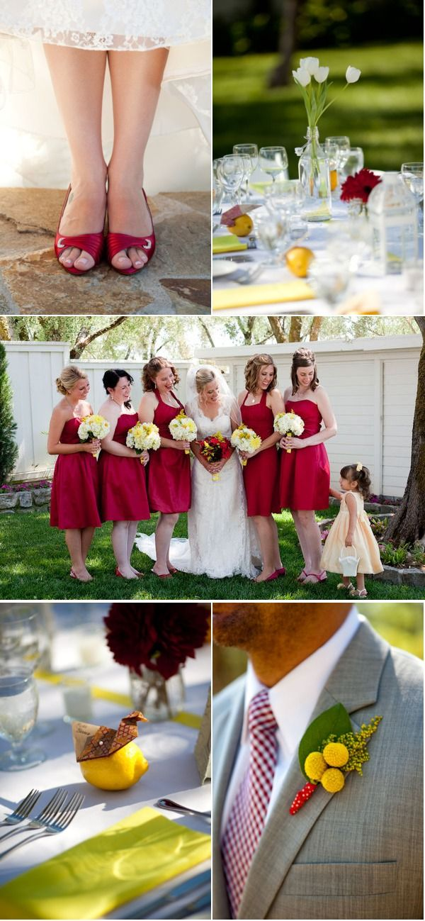 Red and Yellow Wedding with Sunflowers via stylemepretty.com