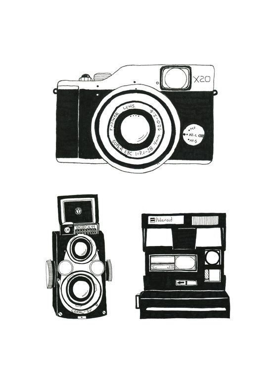 Three cameras. Art Print