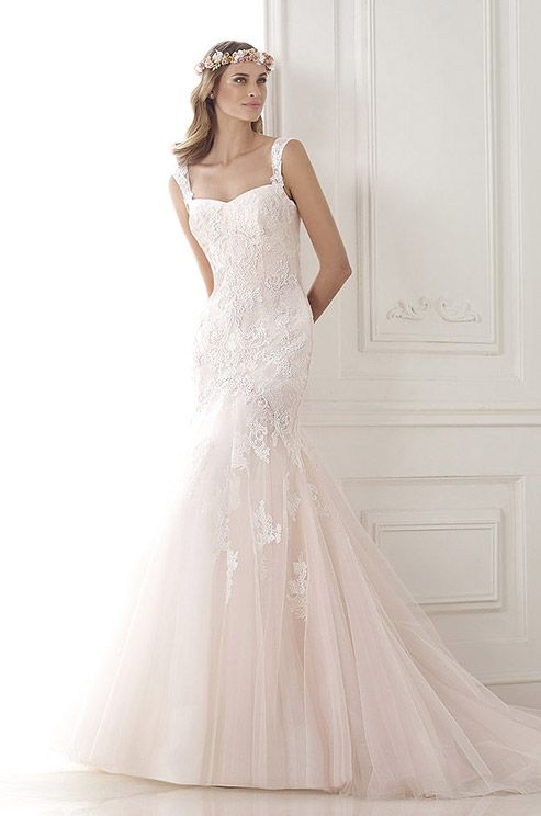 Pink Tulle Mermaid Dress With Embroidered Lace Appliqu 233 S