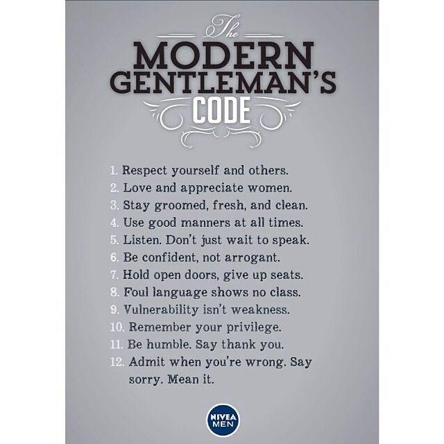 The modern gentleman's code