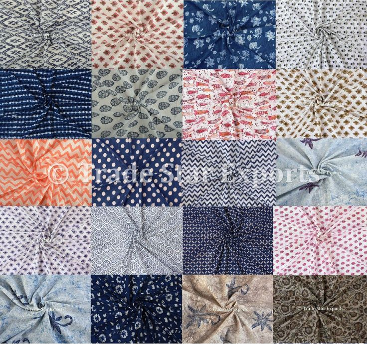 Hand Block Print Natural Cotton Fabric Ethnic Voile Upholstery Fabric 5 Yards