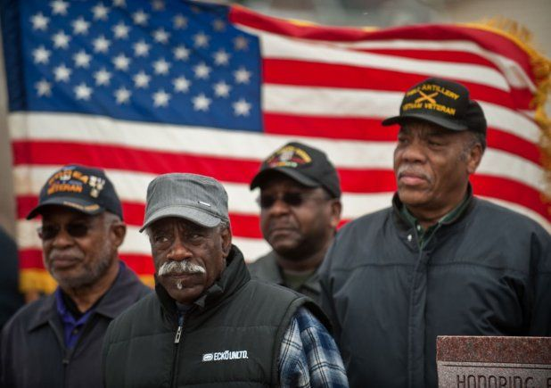NFL DISHONORS THESE HEROES!   African American Veterans of the Vietnam and Korean Wars, all of whom received a Purple Heart during their service, stand together during a ceremony in Virginia honoring their sacrifice.