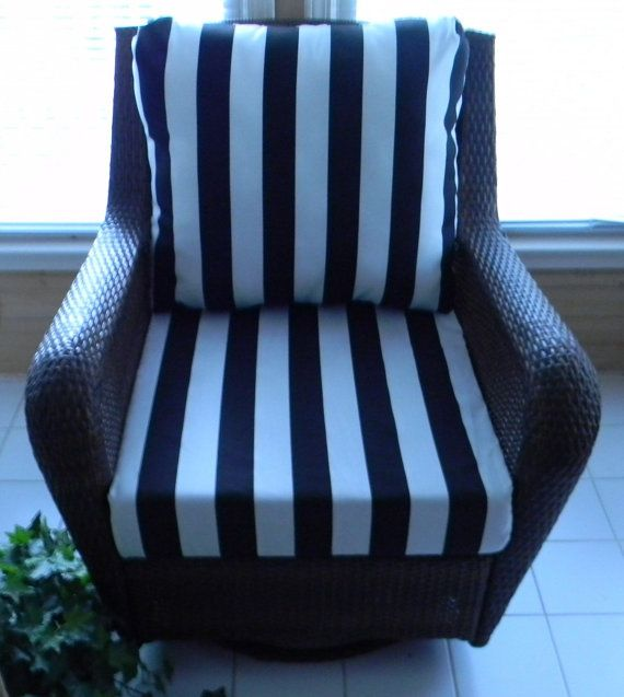Black U0026 White Stripe Cushion For Outdoor Deep Seat Furniture Chair, Choose  Size