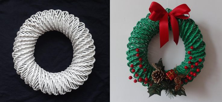 wicker paper DIY Christmas wreath tutorial