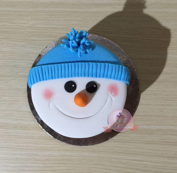 Mini torta muñeco de nieve para navidad