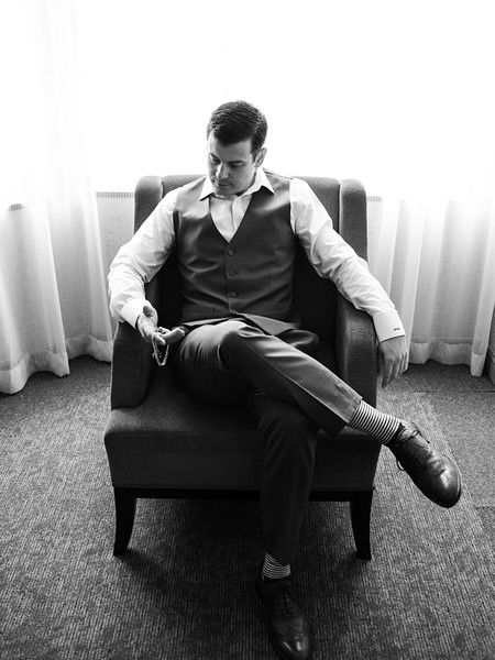 Such a classic and elegant shot of the groom! Captured by A. Payetta Photography.