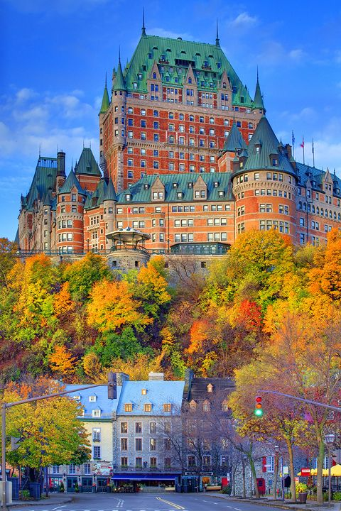 Le Château Frontenac (Fairmont Le Château Frontenac) in autumn, Québec City, Québec, Canada | Kevin McNeal Photography. This building is a beautiful subject. Shot from below, its grand majesty is accentuated.