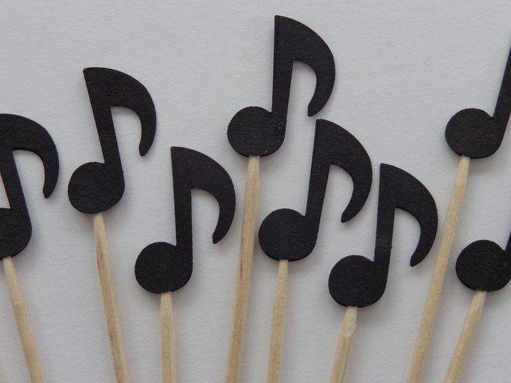 24 Black Music Note Party Picks  Cupcake by SewPrettyInVermont, $3.99